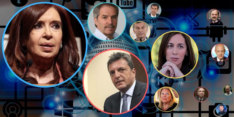 Cristina cerró 2018 liderando las redes sociales, con Macri algo recuperado y Massa en ascenso