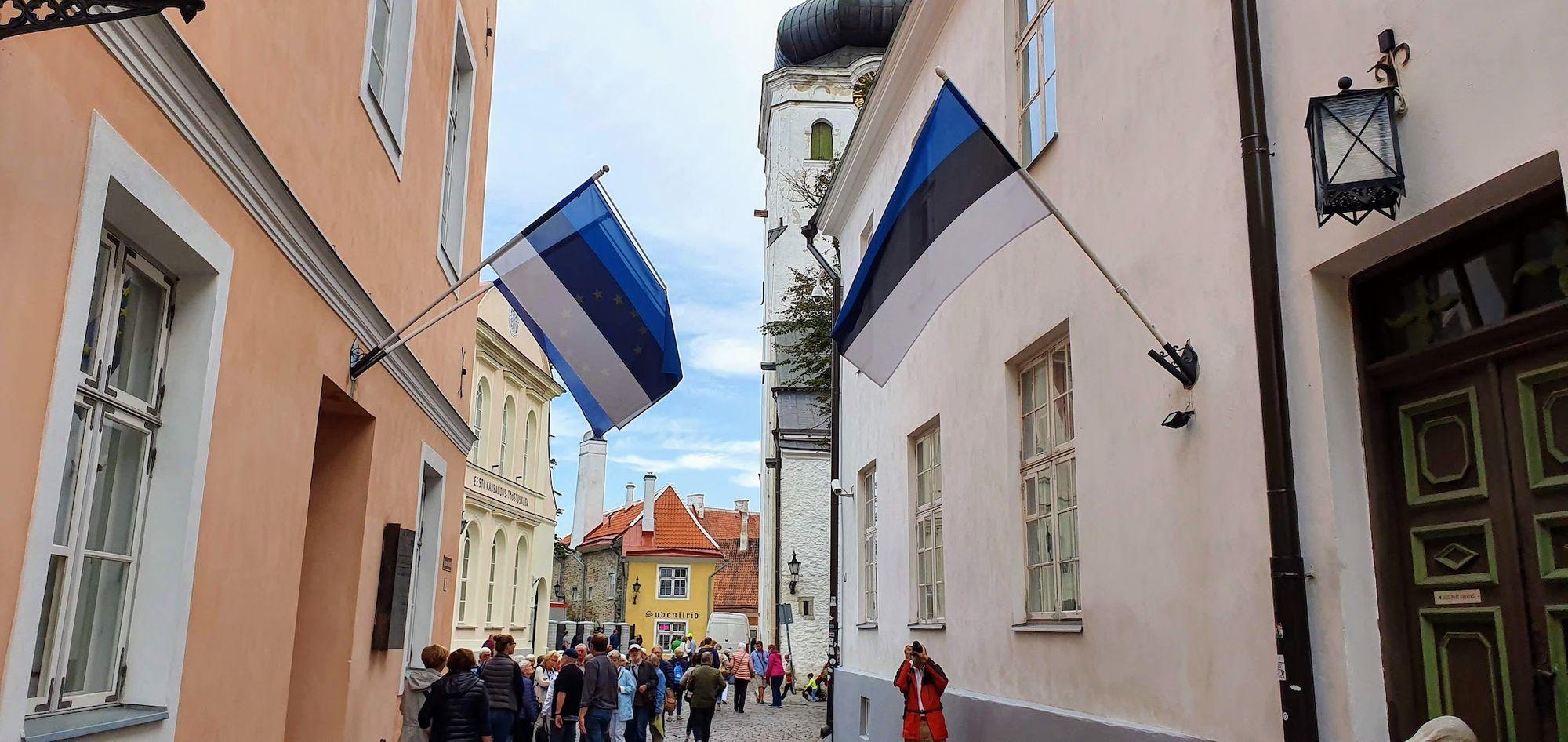 Banderas Estonias en las calles de Tallin