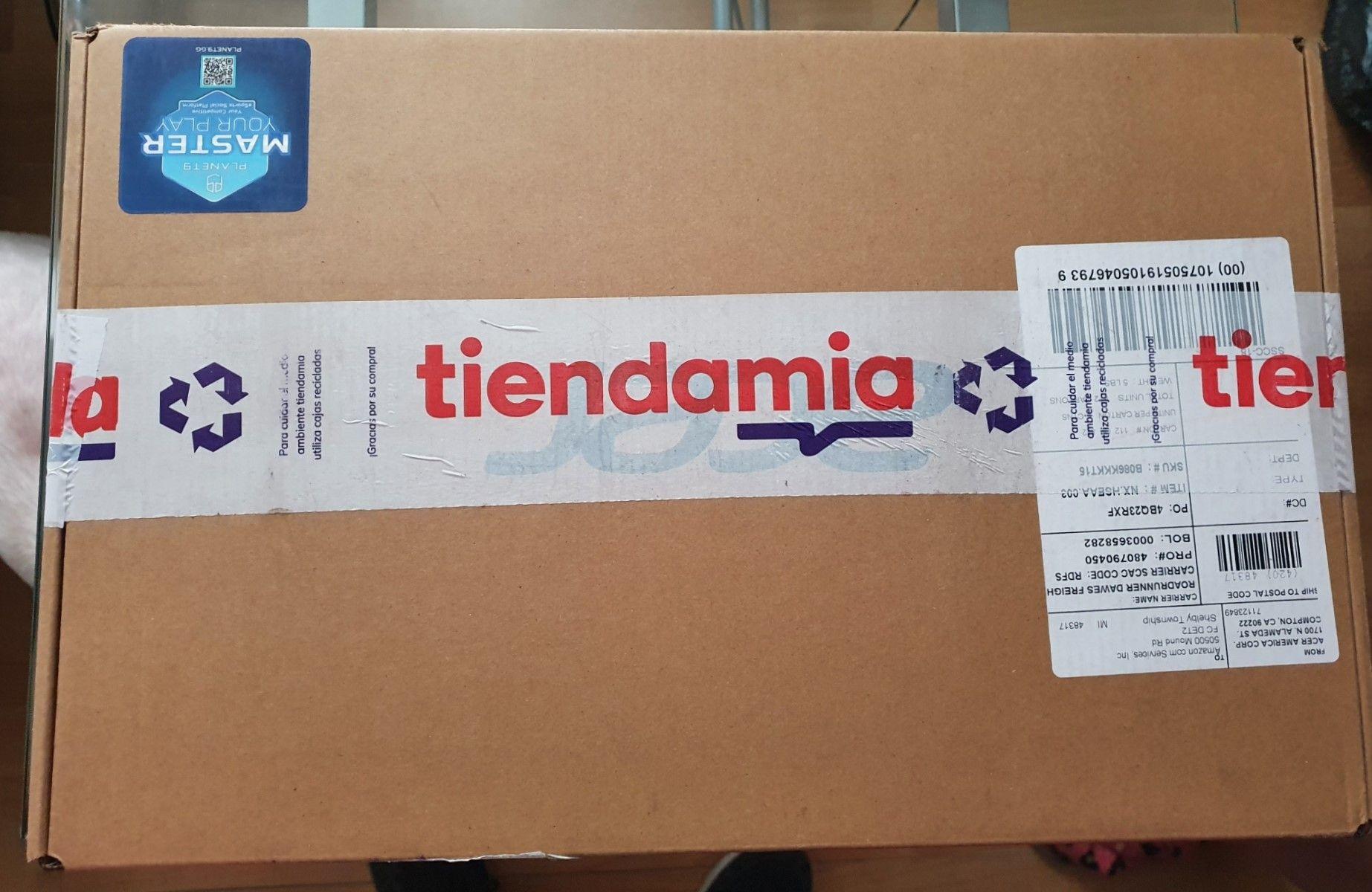 Paquete de Tiendamia recién llegado y entregado puerta a puerta