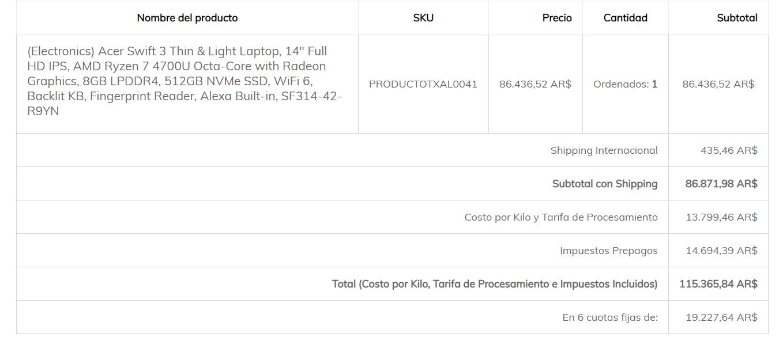 Precio de lista y precio final por Courier privado puerta a puerta del la Acer Swift 3 Ryzen 7 el 3 de Septiembre de 2020
