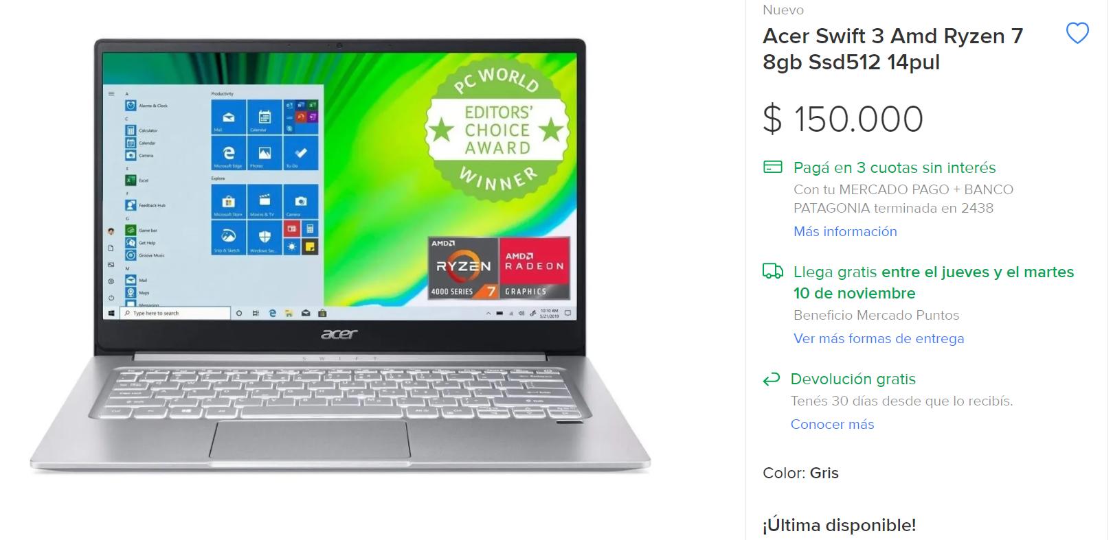 Precio Promedio en Mercado libre de la Acer Swift 3 SF314-42 AR$ 150.000
