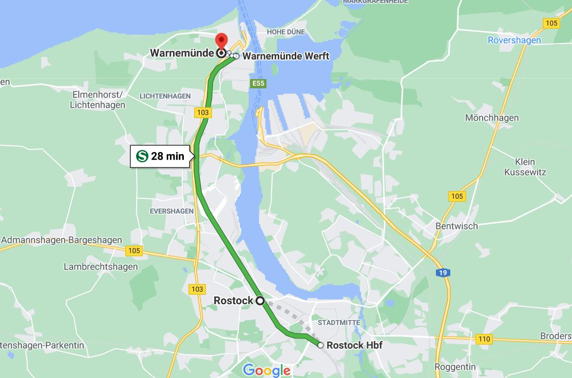 Los 28 minutos y 9 estaciones de tren de Rostock a Warnemünde