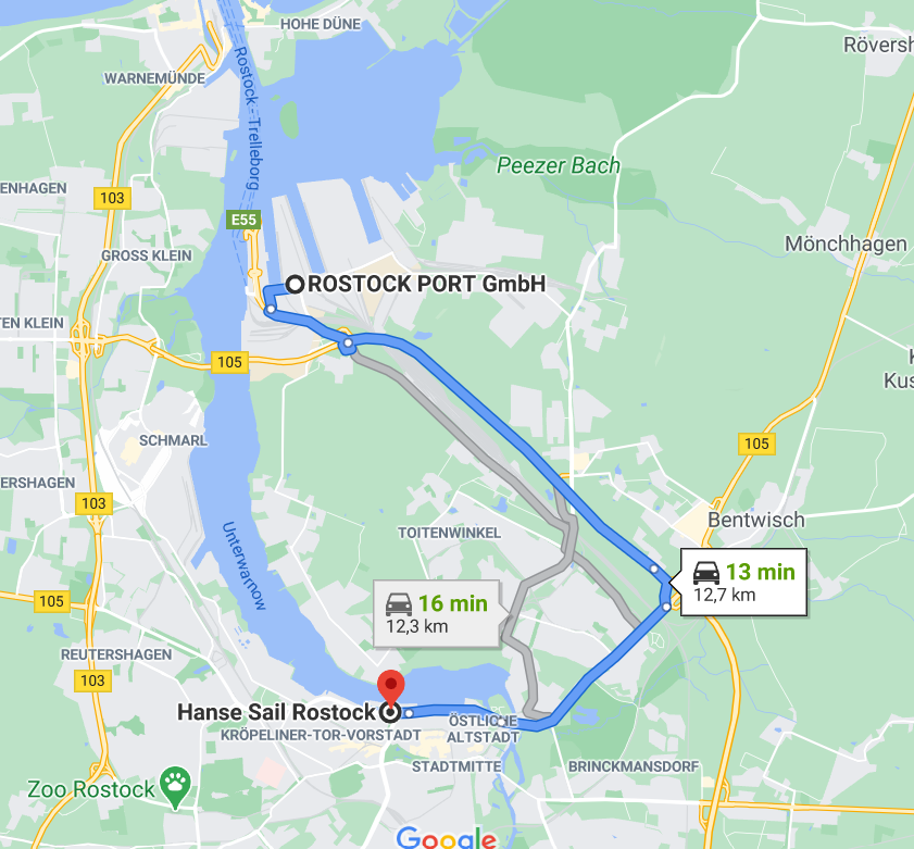 Del puerto industrial de Rostock al centro en el bus del Norwegian Spirit
