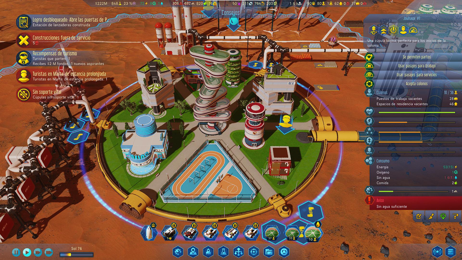 Administración de una de las cúpulas habitacionales de Surviving Mars