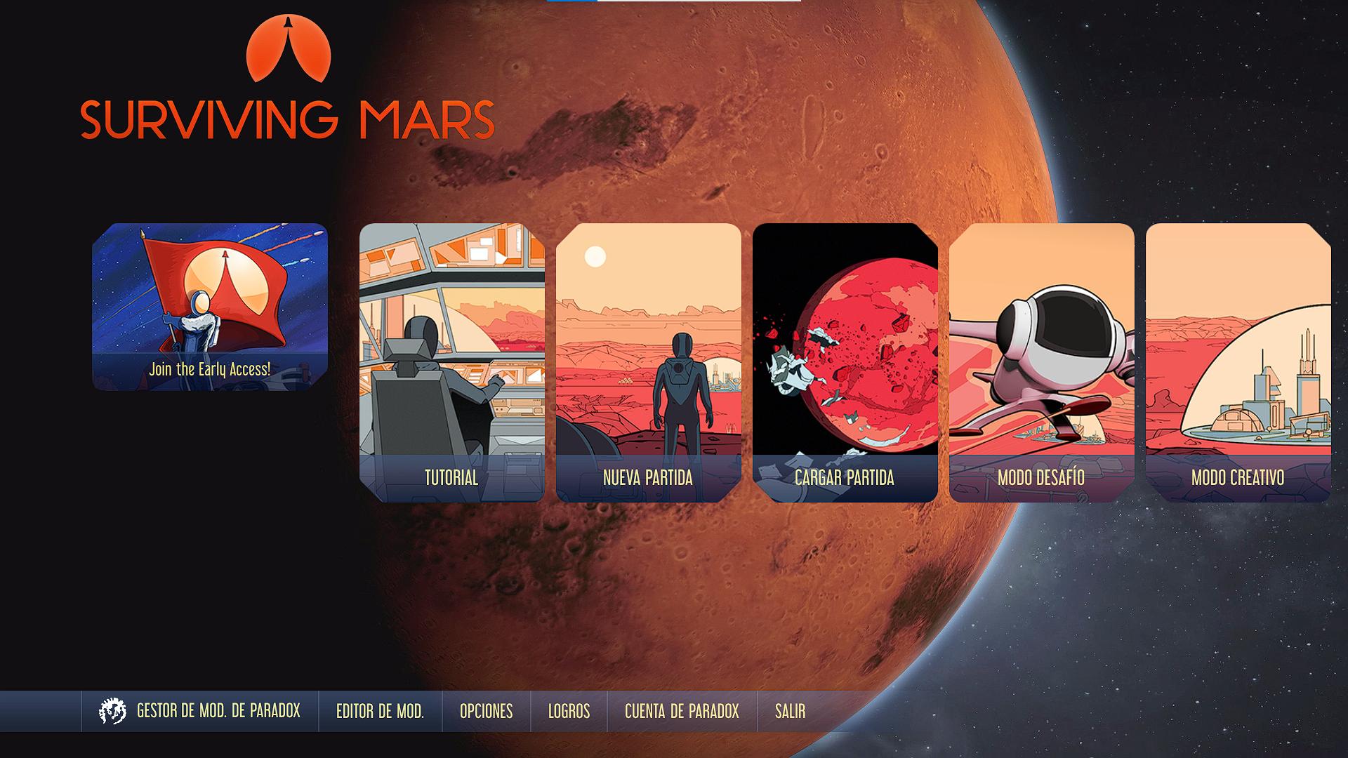 Pantalla de inicio de Surviving Mars